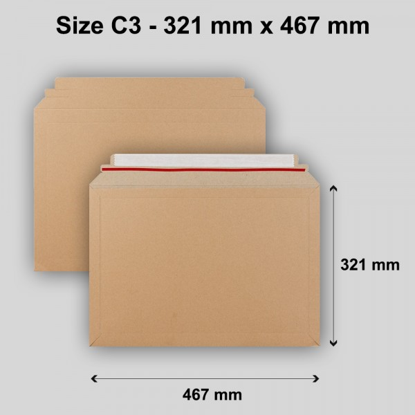 Flute C3 Size  321mm x 467mm - 400gsm for A3 Size Book Mailer - All Board Brown Capacity Book Mailer