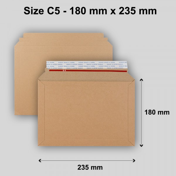 Flute C5 180mm x 235mm - 400gsm  for A5 Size Book Mailer - All Board Brown Capacity Book Mailer