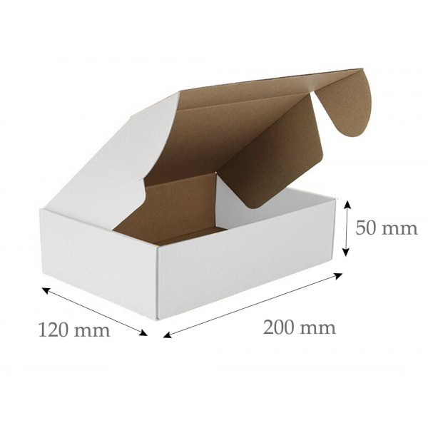 Die Cut Boxes  (White) - 200 x 120 x 50 mm (8 x 4.75 x 2 inches)