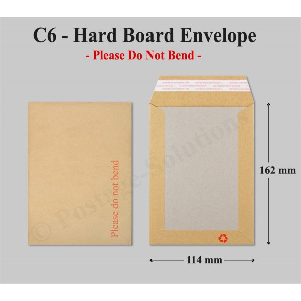 "C6 Hard Board Back Manilla Envelopes ""Do Not Bend"" For A6"