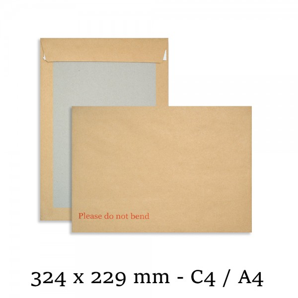 "C4 Hard Board Back Manilla Envelopes ""Please Do Not Bend"" for A4"