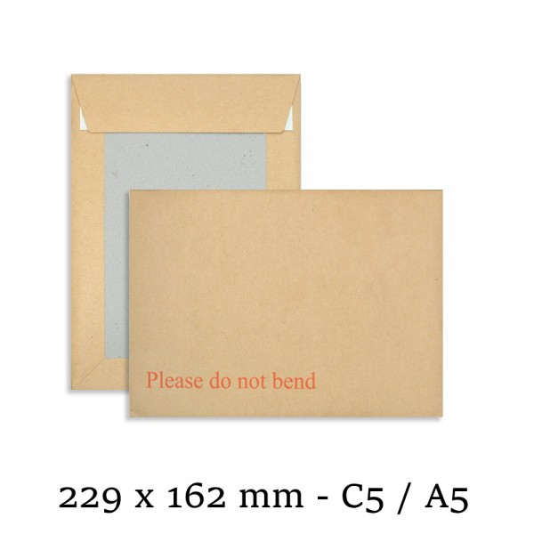 "C5 / A5 Hard Board Back Manilla Envelopes ""Do Not Bend"""