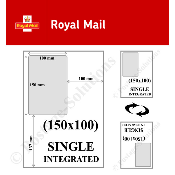 INTEGRATED LABELS 150MM X 100MM FOR Royal Mail - GOOD QUALITY