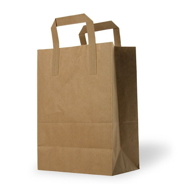 Large Brown Kraft paper SOS food carrier bags with flat Handles - 250 x 300 x 140 mm