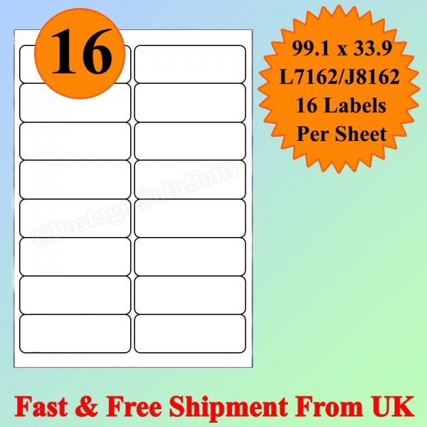 16 Per Sheet Address Labels White A4 Sheets Sticky Self Adhesive for Inkjet / Laser Printer