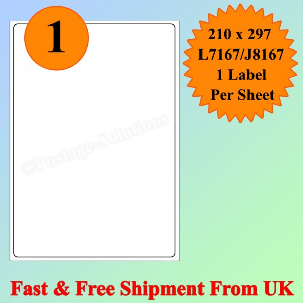 1 Per Sheet Address Labels White A4 Sheets Sticky Self Adhesive for Inkjet / Laser Printer