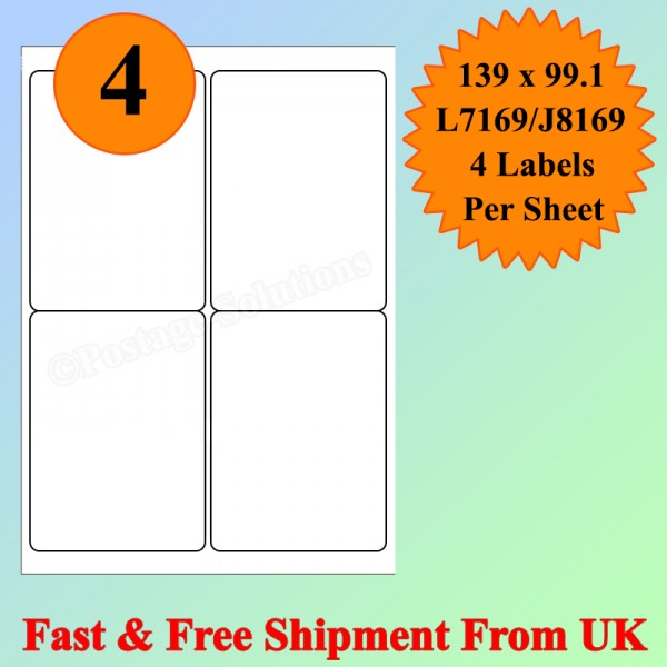 4 Per Sheet Address Labels White A4 Sheets Sticky Self Adhesive for Inkjet / Laser Printer