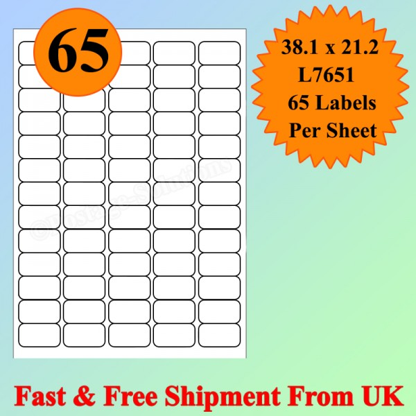 65 Per Sheet Address Labels White A4 Sheets Sticky Self Adhesive for Inkjet / Laser Printer