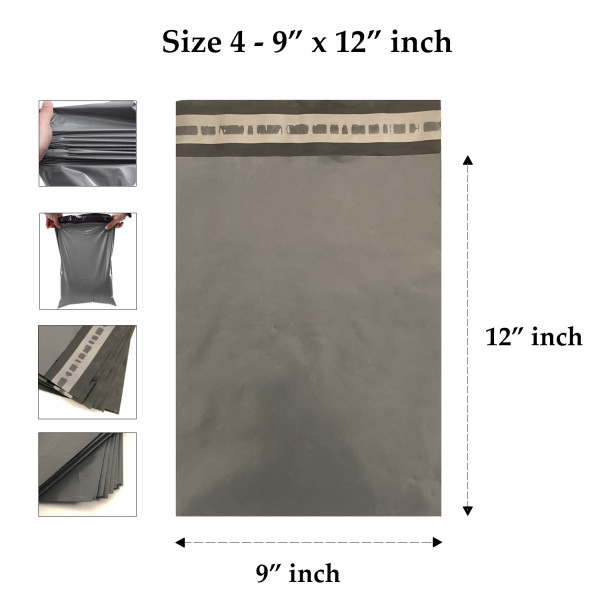 Grey Mailing Bags 9 x 12 Inches 230 x 300 mm