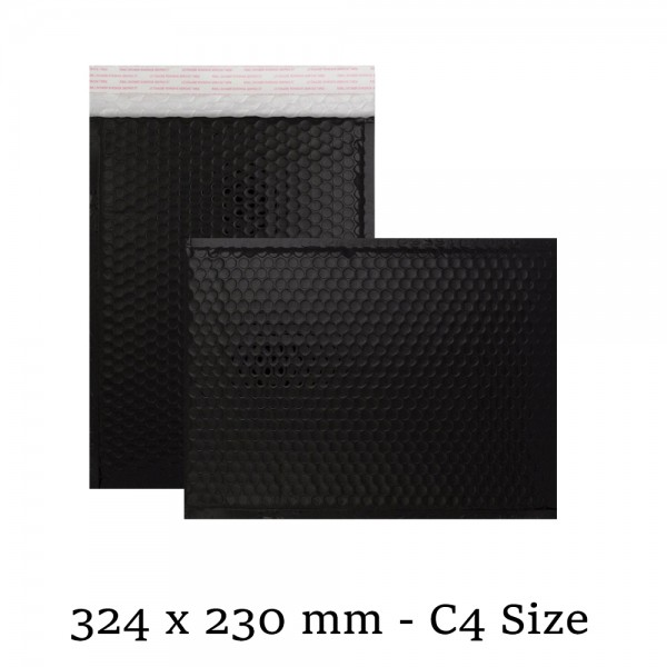 Black Metallic Strong Seal Bubble Envelopes - 324 x 230 mm - C4 / A4 Size