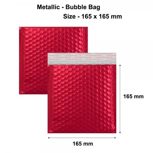 Red Metallic Strong Seal Bubble Envelopes - 165 x 165 mm
