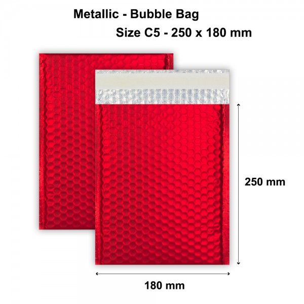 Red Metallic Strong Seal Bubble Envelopes - 250 x 180 mm - DVD -