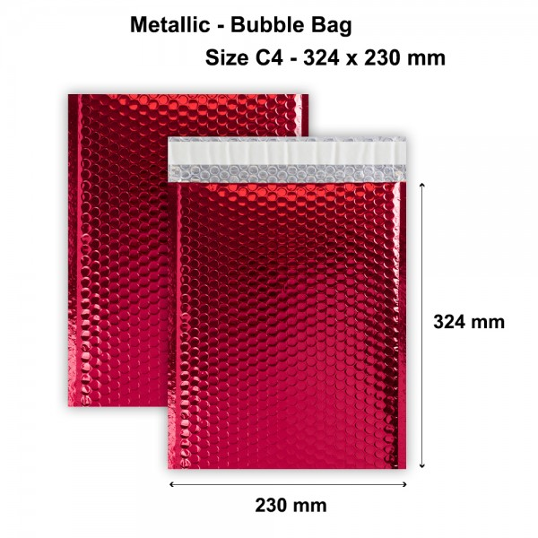 Red Metallic Strong Seal Bubble Envelopes - 324 x 230 mm