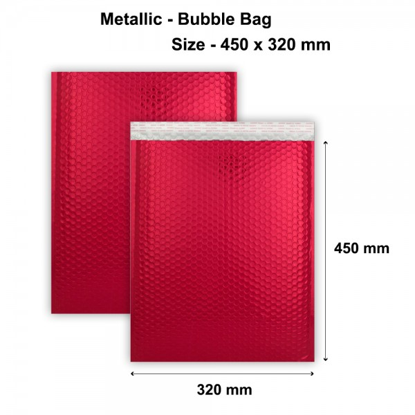 Red Metallic Strong Seal Bubble Envelopes - 450 x 320 mm