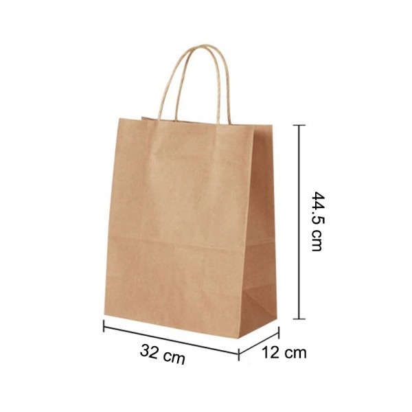 Large Brown Kraft paper Party Gift carrier bags with Twisted Handles - 32 x 44.5 x 17 cm