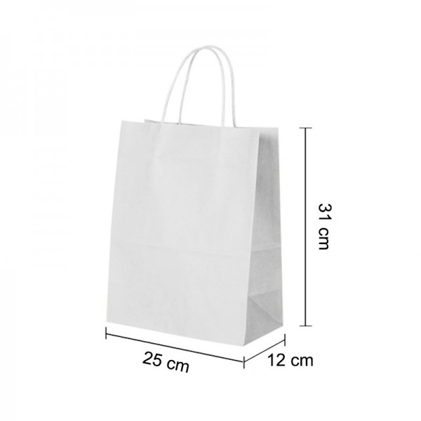 Medium White Kraft paper Party Gift carrier bags with Twisted Handles - 25 x 31 x 12 cm