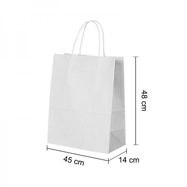 Extra Large White Kraft paper Party Gift carrier bags with Twisted Handles - 45 x 48 x 14 cm