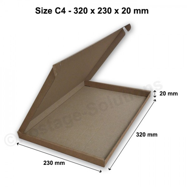 C4 ROYAL MAIL PIP BOXES 320mm x 230mm x 20mm - FOR LARGE LETTER