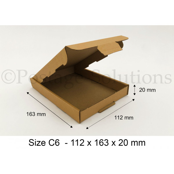 C6 ROYAL MAIL PIP BOXES 112mm x 163mm x 20mm - FOR LARGE LETTER