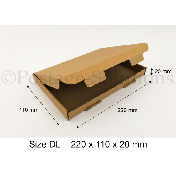 DL ROYAL MAIL PIP BOXES 220mm x 110mm x 20mm - FOR LARGE LETTER
