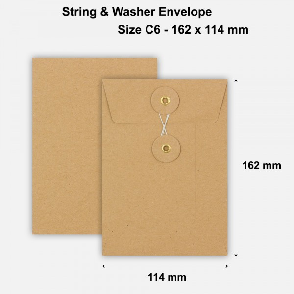 C6 Size String & Washer Envelopes Bottom Tie Manilla Brown Without Gusset