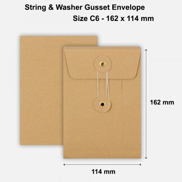 C6 Size String & Washer Envelopes Bottom Tie Manilla Brown With Gusset