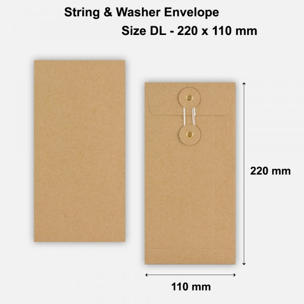 DL Size String & Washer Envelopes Bottom Tie Manilla Brown Without Gusset
