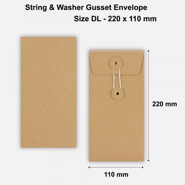 DL Size String & Washer Envelopes Bottom Tie Manilla Brown With Gusset