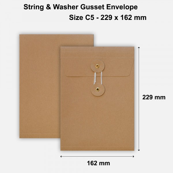 C5 Size String & Washer Envelopes Bottom Tie Manilla Brown With Gusset