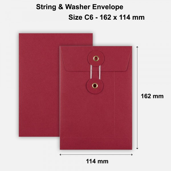 C6 Size String & Washer Envelopes Bottom Tie Red Without Gusset