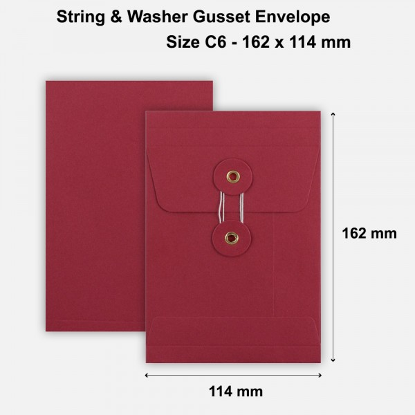 C6 Size String & Washer Envelopes Bottom Tie Red With Gusset