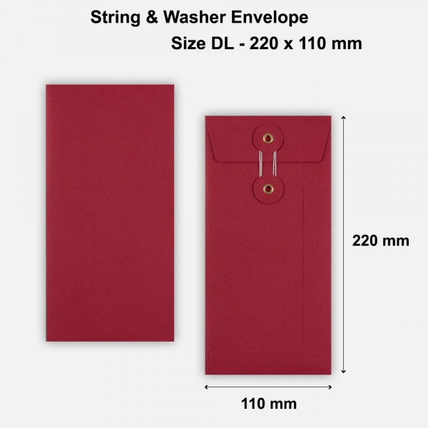 DL Size String & Washer Envelopes Bottom Tie Red Without Gusset