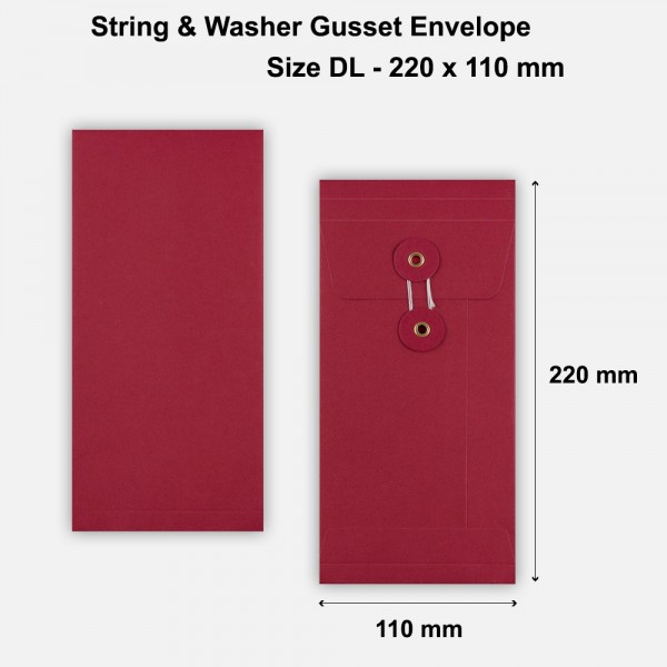 DL Size String & Washer Envelopes Bottom Tie Red With Gusset