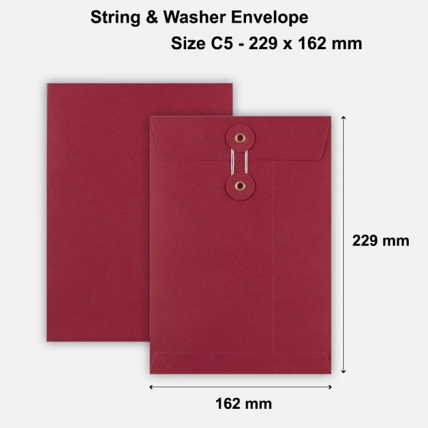 C5 Size String & Washer Envelopes Bottom Tie Red Without Gusset