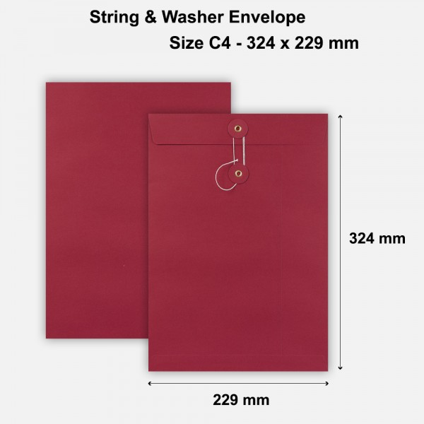 C4 Size String & Washer Envelopes Bottom Tie Red Without Gusset