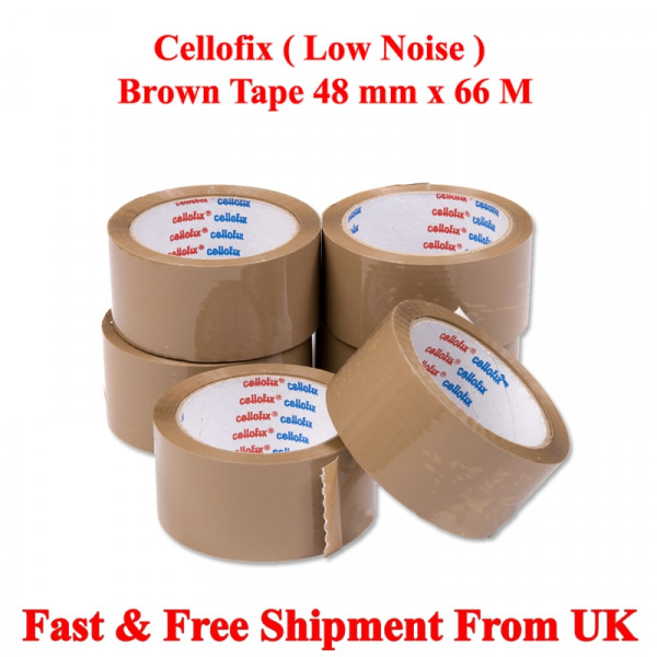 "CELLOFIX BROWN LOW NOISE PACKAGING TAPE  48MM 2"" X 66M"