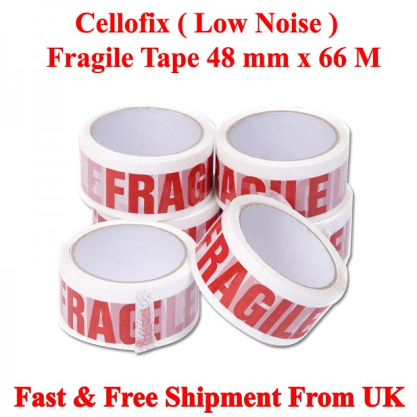 "FRAGILE LOW NOISE PACKAGING TAPE 48MM 2"" X 66M"