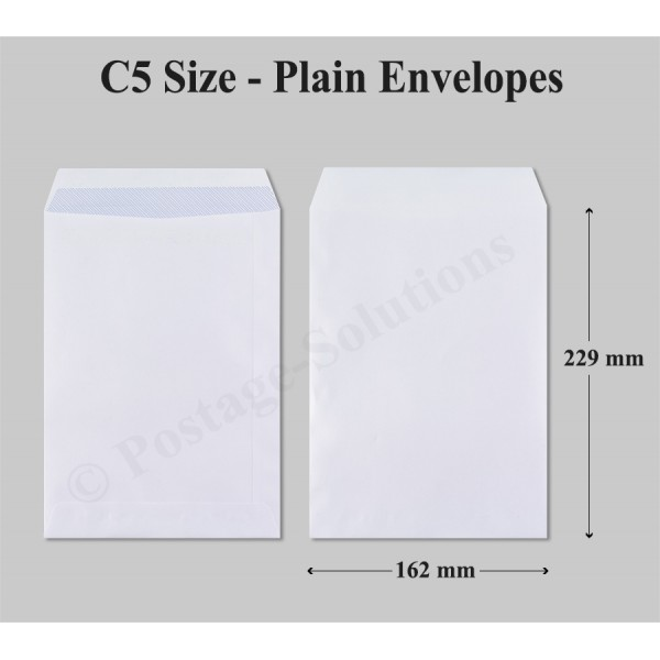 100 GSM - 229x162 mm (C5) White Envelope - Peel & Seal